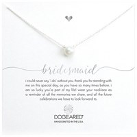 Dogeared Bridal Large Pearl Bridesmaid Reminder Necklace Silver