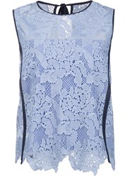 Msgm Contract Trim Lace Tank Blue