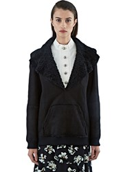 Proenza Schouler Oversized Shearling Collared Leather Sweater Black