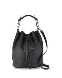 Kelsi Dagger Dusen Leather Drawstring Bucket Bag Black
