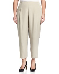 Lafayette 148 New York Plus Pleated Straight Leg Pull On Pants Khaki