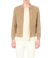 Allsaints Kemble Suede Bomber Jacket Sand Brown