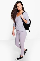 Boohoo V Neck Tunic Soft Rib Knitted Loungewear Set Silver
