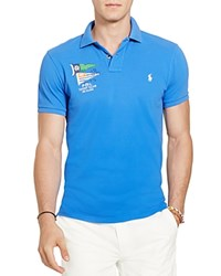 Polo Ralph Lauren Nautical Cotton Mesh Slim Fit Shirt New Iris
