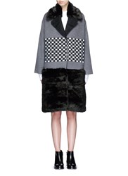 Cynthia And Xiao Check Ribbon Wool Cashmere Faux Fur Coat Multi Colour