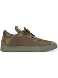 Helmut Lang Contrast Lace Up Sneakers Green