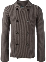 Eleventy Double Breasted Cardigan Brown