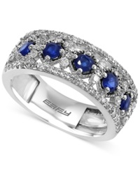 Effy Collection Effy Sapphire 2 3 Ct. T.W. And Diamond 1 2 Ct. T.W. Band In 14K White Gold