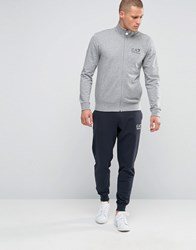 Emporio Armani Ea7 Tracksuit Set With Chest Logo Grey Top Black Grey