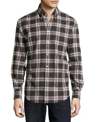 Neiman Marcus Long Sleeve Plaid Flannel Sport Shirt Purple Green