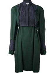 Sacai Calligraphy Embroidered Shirt Dress Green