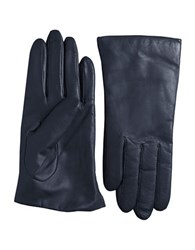 Lord And Taylor Cashmere Lined Leather Gloves Ink Blue