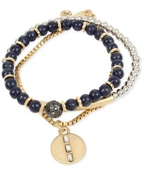 Kenneth Cole New York Two Tone 3 Pc. Set Bead And Chain Bracelets Blue