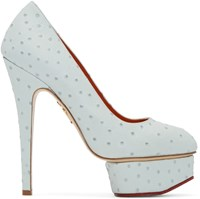 Charlotte Olympia Blue Ostrich Embossed Dolly Heels