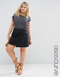Asos Curve Wrap A Line Denim Mini Skirt In Washed Black Black