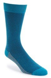 Ted Baker Men's London Microcheck Organic Cotton Blend Socks Teal