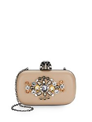 Saks Fifth Avenue Ritz Jeweled Minaudiere Sand