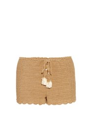 She Made Me Oh Girl Crochet Shorts Beige