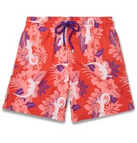 Vilebrequin Moorea Mid Length Printed Swim Shorts Red
