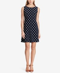American Living Polka Dot Jersey Dress Black White
