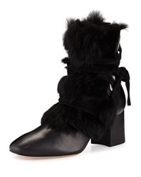 Alexandre Birman Rabbit Fur Trimmed Ankle Boot Black