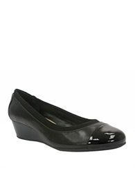 Ellen Tracy Cancan Leather And Patent Leather Wedges Black