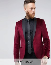 Noose And Monkey Super Skinny Blazer In Velvet With Contrast Collar Burgundy Red