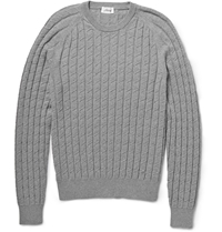 Brioni Cable Knit Cotton And Cashmere Blend Sweater Gray