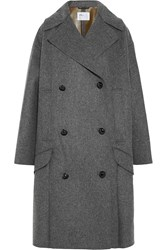 Toga Bonded Wool Blend And Faux Leather Coat Gray