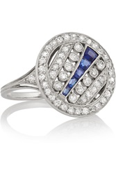 Fred Leighton Art Deco Platinum Diamond And Sapphire Ring