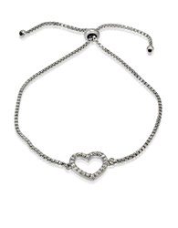 Lord And Taylor Cubic Zirconia Sterling Silver Heart Bracelet