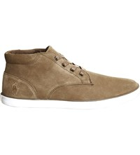 Ralph Lauren Odie Leather High Top Trainers Dark Tan