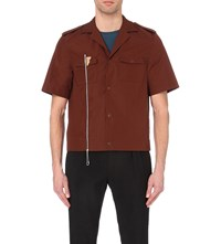 Maison Martin Margiela Chain Zip Short Sleeved Shirt Dark Rust