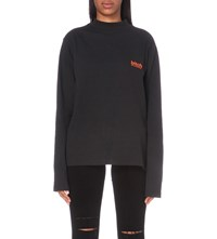 Hood By Air Bitch Cotton Jersey Top Black