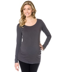 Motherhood Bumpstart Long Sleeve Scoop Neck Ruched Maternity Tee 2 Pack Black Grey
