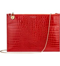 Aspinal Of London Soho Reptile Effect Leather Clutch Red