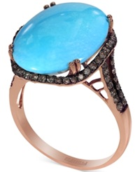 Effy Collection Turquesa By Effy Turquoise 9 9 10 Ct. T.W. And Brown Diamond 3 8 Ct. T.W. Ring In 14K Gold Green
