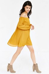 Ecote Off The Shoulder Swing Dress Mustard