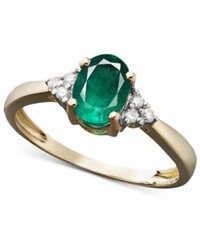 Macy's Emerald 3 4 Ct. T.W. And Diamond Accent Oval Ring In 14K Gold Green