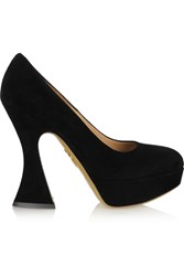 Charlotte Olympia This Is Not A Shoe Suede Platform Pumps Black