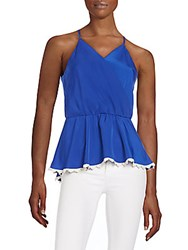Collective Concepts Lace Trimmed Satin Peplum Top Cobalt