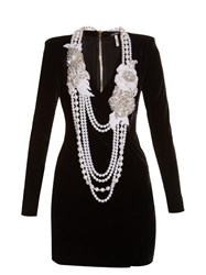 Balmain Necklace Embellished Velvet Dress Black Multi