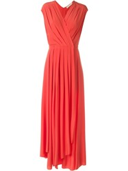 Tory Burch Pleated Evening Dress Red