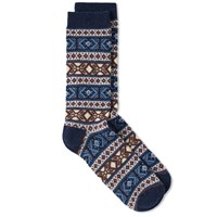 Anonymous Ism Jacquard Crew Sock Blue