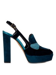 Etro Velvet And Suede Platform Pumps Dark Green