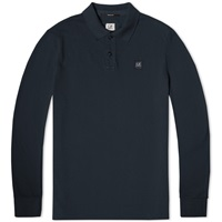 C.P. Company Long Sleeve Garment Dyed Pique Polo Navy