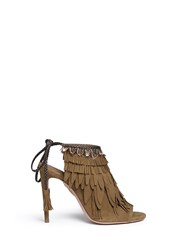 Aquazzura 'Pocahontas' Fringe Feather Suede Peep Toe Sandals Brown