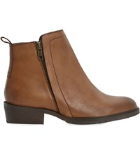 Bertie Plott Double Zip Leather Ankle Boots Tan Leather