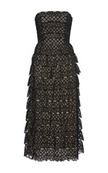 Vilshenko Harmony Strapless Lace Midi Dress Black