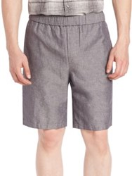 Vince Solid Linen Blend Shorts Grey